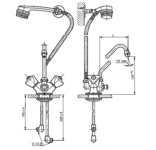 Рисунок 9 — Смеситель для мойки двухрукояточный центральный набортный со щеткой с настенным креплением, излив с аэратором. Тип См-МДЦБЩнА